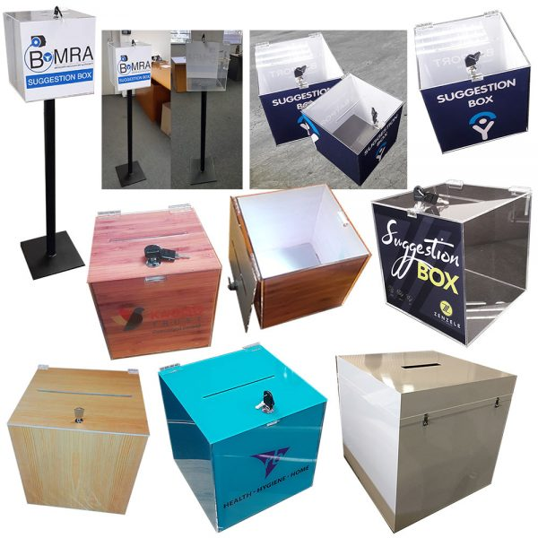We Do Pro Displays - BRANDING and MANUFACTURING of Tender Boxes, Ballot Boxes, Suggestion Boxes etc. Contact us for Standard or Custom Acrylic Fabrication