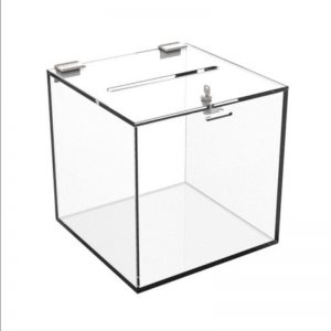Acrylic Suggestion Boxes. 200mm, 250mm, 300mm sizes. Budget (1,5mm) and Pro (3mm) thickness