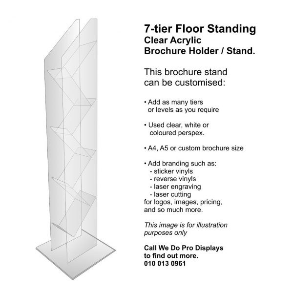 Floor Brochure Stands A4 or A5: 7-tier or custom. Clear Acrylic Brochure Holders from We Do Pro Displays