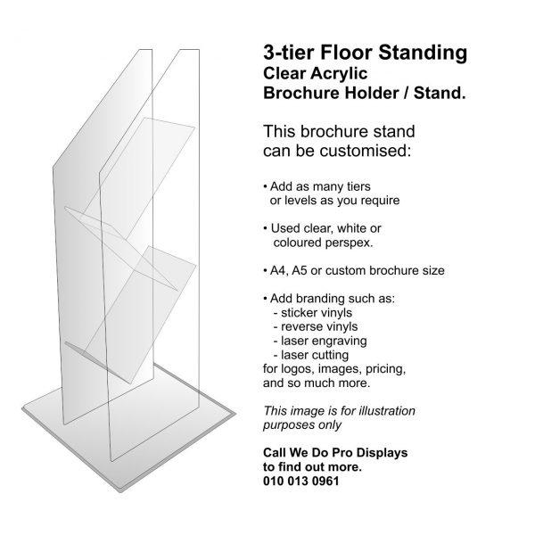 3 Tier Floor Standing Brochure Holder - We Do Pro Displays