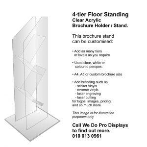 4 tier Floor Standing Clear Acrylic Brochure Holder